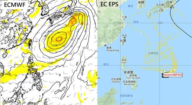 歐洲模式系集模擬(EC EPS)顯示(右圖),其系集路徑與台灣皆保持一段不小的距離。(摘自吳德榮專欄《三立準氣象老大洩天機》)