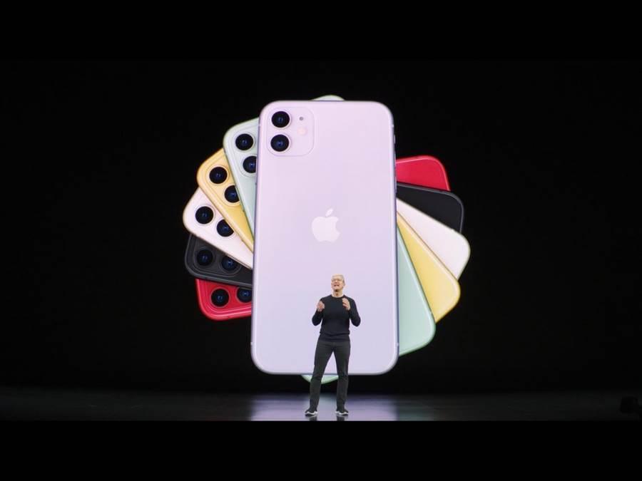 iPhone11上推出了黑、綠、黃、紫、Product RED及白色。(蘋果直播畫面)