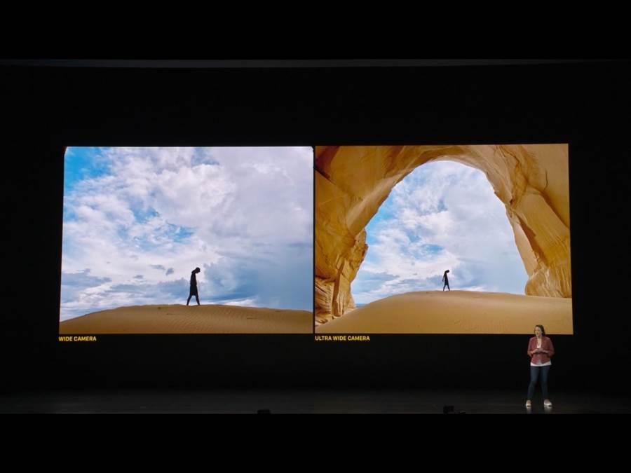 iPhone11上終於加上2顆廣角鏡頭,變焦功能也可一鍵變換。(蘋果直播畫面)