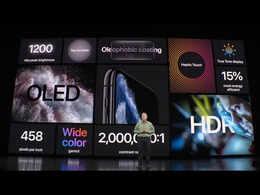 iPhone11 Pro系列則為5.8吋及6.5吋的超Retina XDR顯示器。(蘋果直播畫面)