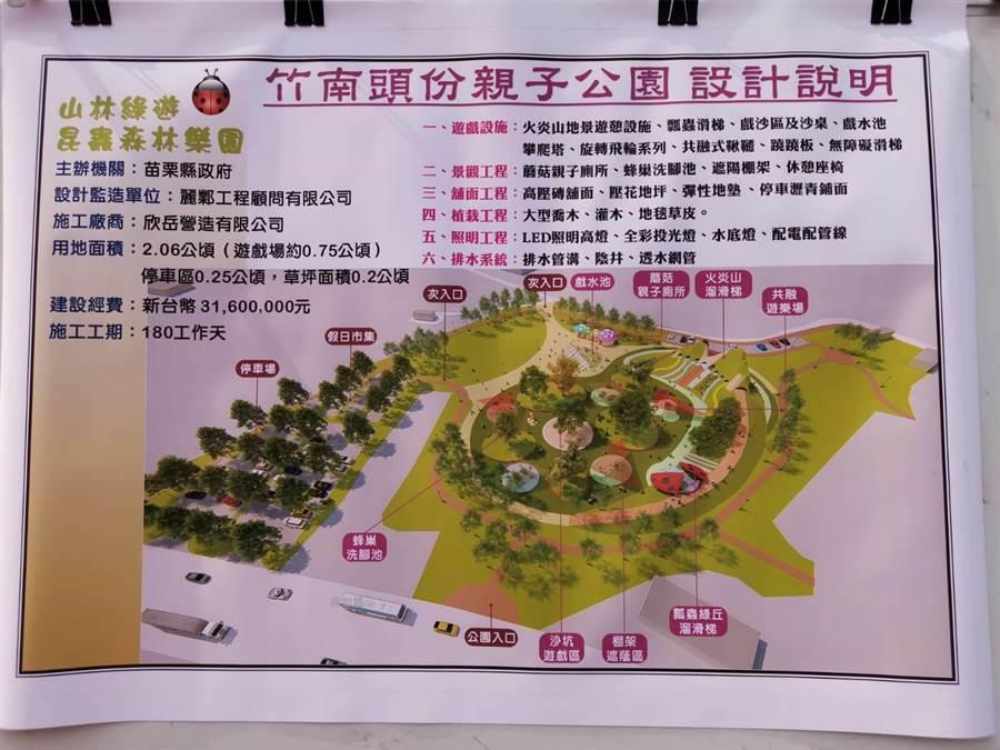 竹南頭份親子公園規畫有9個主題遊樂設施。〔謝明俊攝〕