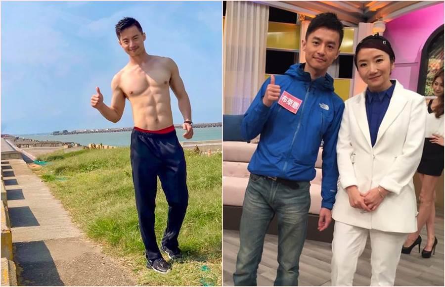 周姓男星多年前曾上陶晶瑩主持的節目,大談男女職業,當時的他還相當瘦弱。(合成圖/翻攝自臉書)