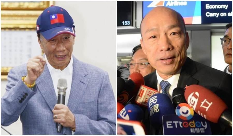 國民黨總統參選人韓國瑜(右)、鴻海創辦人郭台銘(左)。(本報資料照片)
