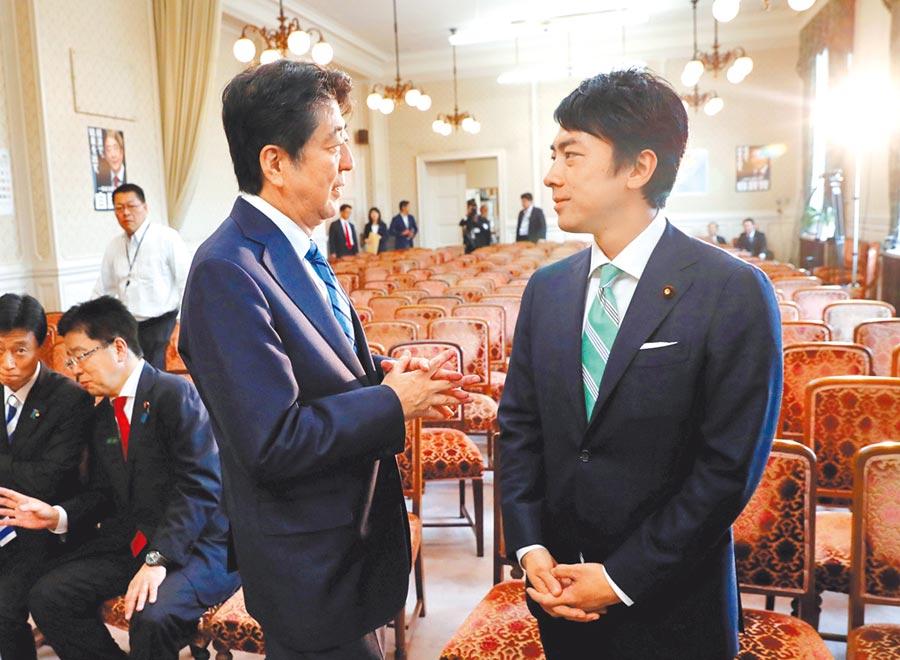 日本政壇明日之星小泉進次郎(右)與首相安倍交談。38歲的小泉進次郎將首次入閣,擔任環境大臣。(路透)