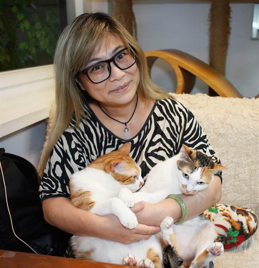林心儀與她的貓孩子們。(季志翔攝)