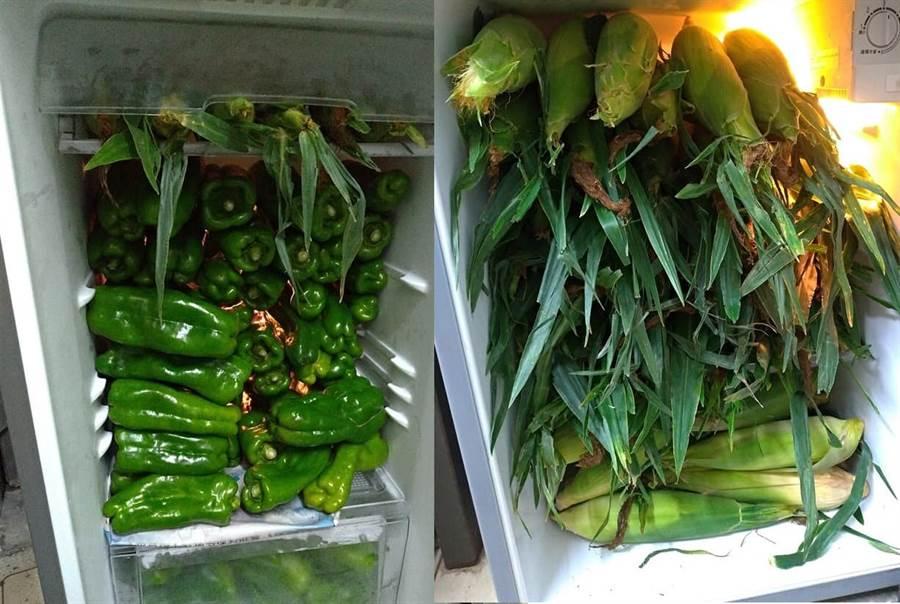 冰箱塞滿玉米還有青椒(圖片取自/爆料公社)
