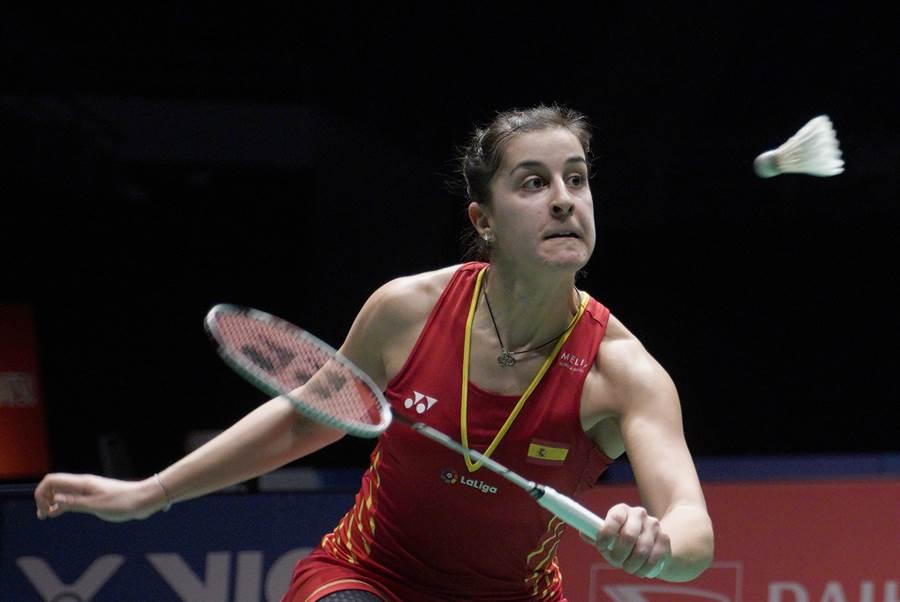 西班牙羽球女單好手馬琳因為右膝前十字韌帶撕裂,休息了8個月終於重返賽場,可惜第一場比賽直落二落敗。(資料照/美聯社)