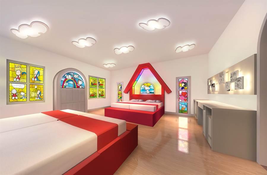「史努比之家」房型溫馨可愛,讓房客彷彿置身卡通世界中。(利蓓薾酒店提供)