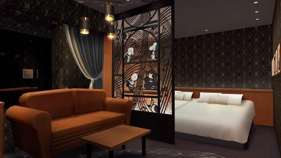 利蓓薾酒店開放訂房2周內,「史努比花生爵士房」即被預訂一路至年底,堪稱人氣王房型。(利蓓薾酒店提供)