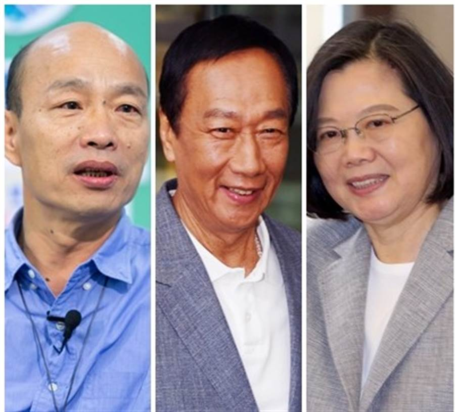韓國瑜(左起)、郭台銘、蔡英文民調出爐。(圖/資料照片合成)