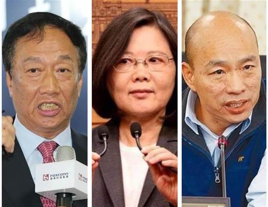 左起郭台銘、蔡英文和韓國瑜。(中時資料照)