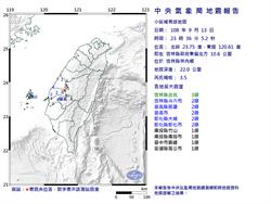 雲林深夜3.5地震 最大震度雲林縣3級