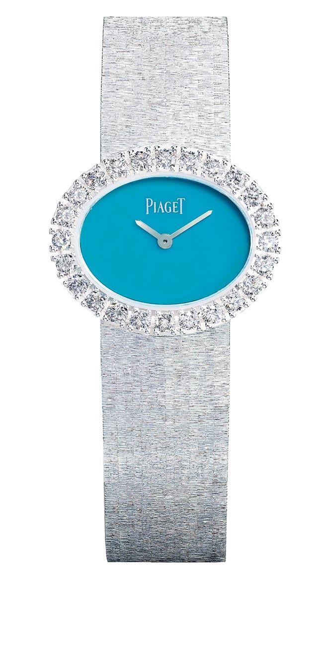 伯爵Extremely Lady系列綠松石珠寶表,結合金雕工藝和彩石表盤等特色,強化品牌的DNA,210萬元。(PIAGET提供)
