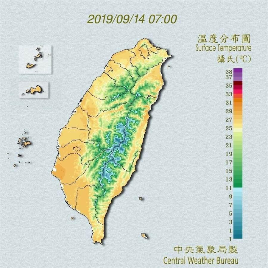 今台灣各地天氣為多雲到晴。(圖/中央氣象局)