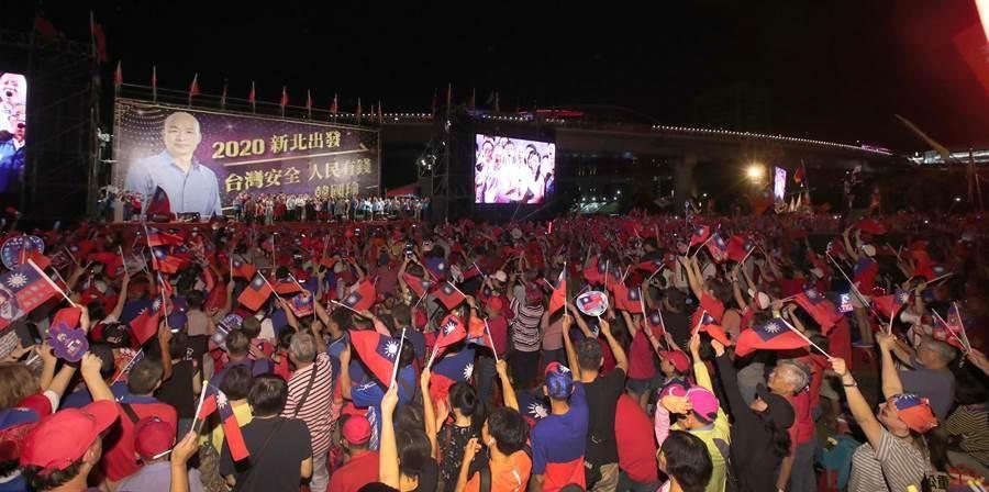 國民黨總統參選人韓國瑜8日在新北市三重舉辦大型造勢。(資料照片,鄭任南攝)