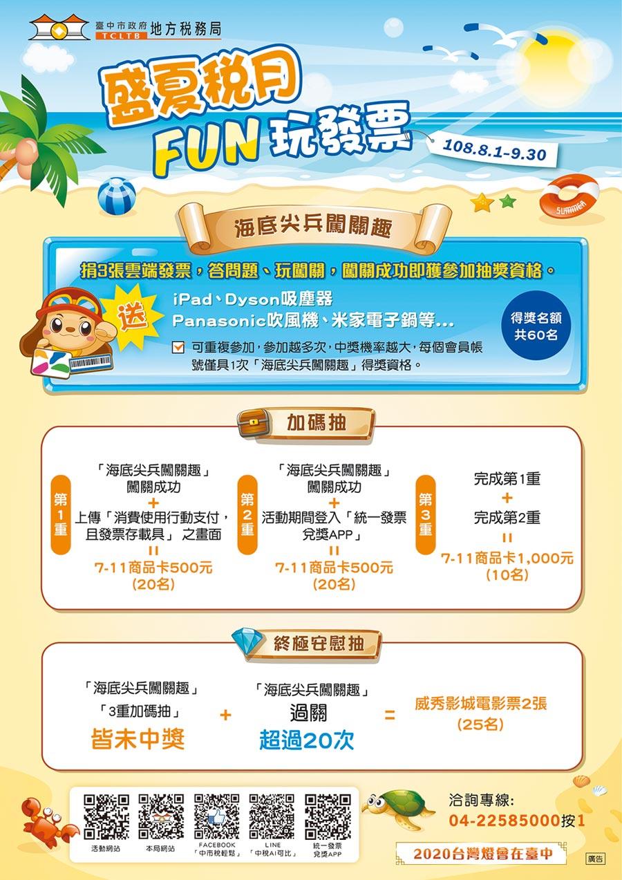 歡度中秋月!台中市政府地方稅務局從8月1日到9月30日舉行「盛夏稅月Fun玩發票」網路抽獎活動。