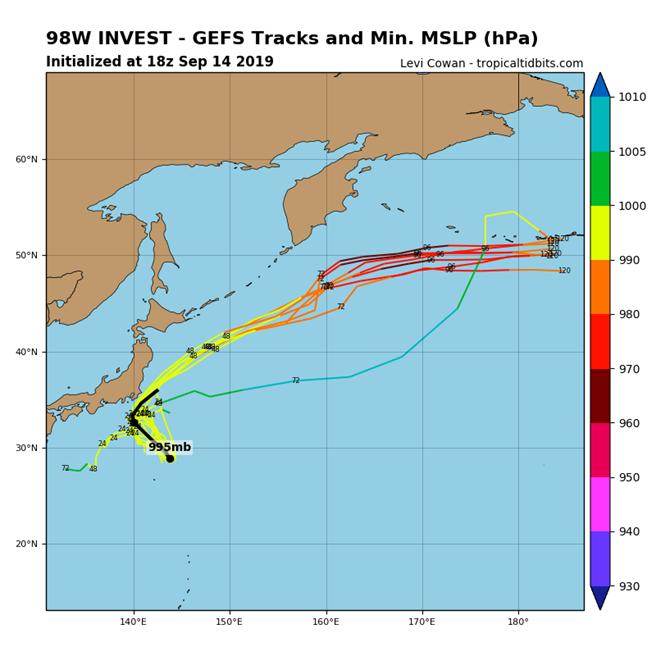 圖為低壓(98W)模擬路徑。(圖擷取自tropicaltidbits)