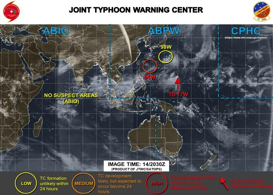 美国海军示警,目前西太平洋有个热低压(TD17W),已经升格为颱风琵琶。(图撷取自JTWC)