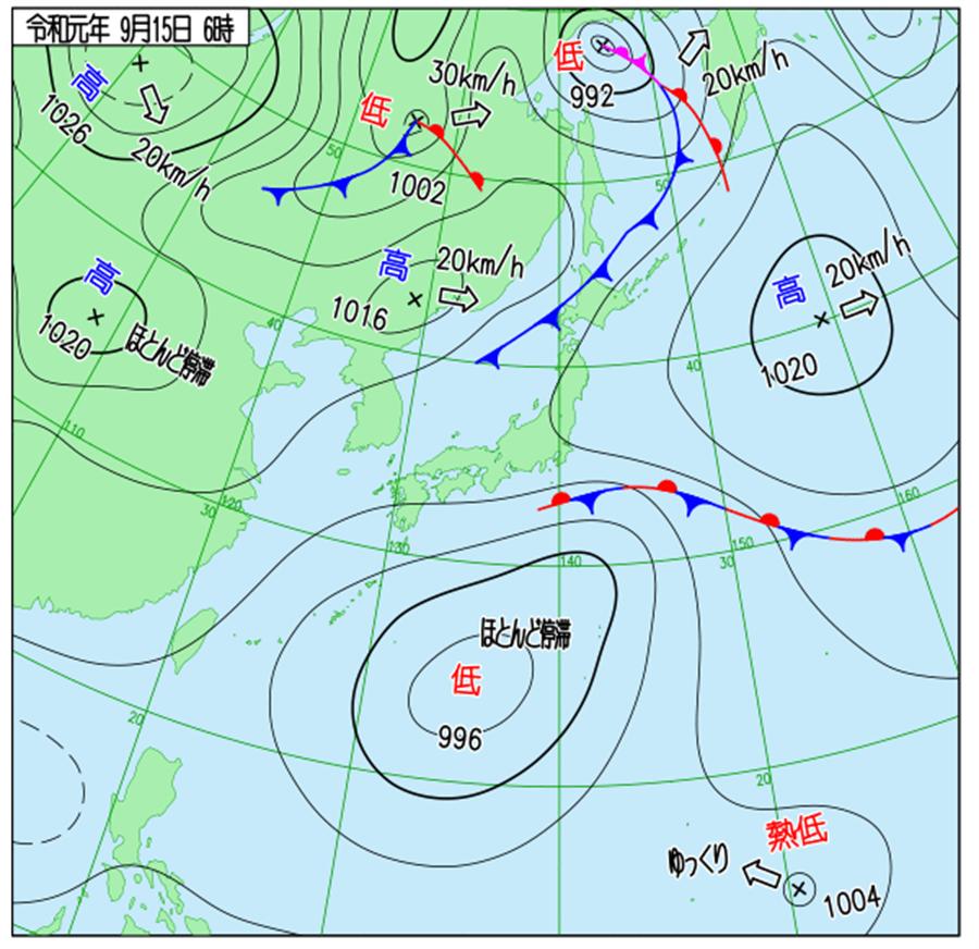 日本天氣圖顯示,有熱低壓在發展。(翻攝自 日本氣象廳)