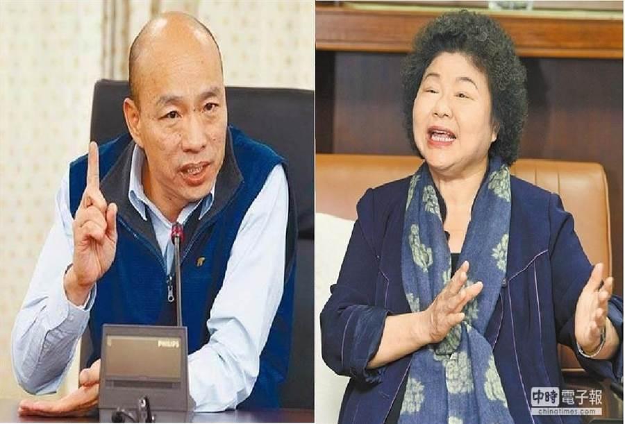 高雄市長韓國瑜(左),前高雄市長、現任總統府祕書長 陳菊(右)。(合成圖/本報資料照)