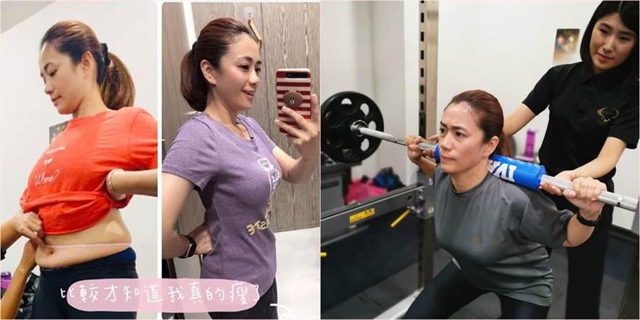 柯以柔婚變後將事業重心轉向網路,近來她發現年近40的她身形開始有變化,於是她開始減少澱粉並請健身教練運動。(合成圖/翻攝自柯以柔IG)