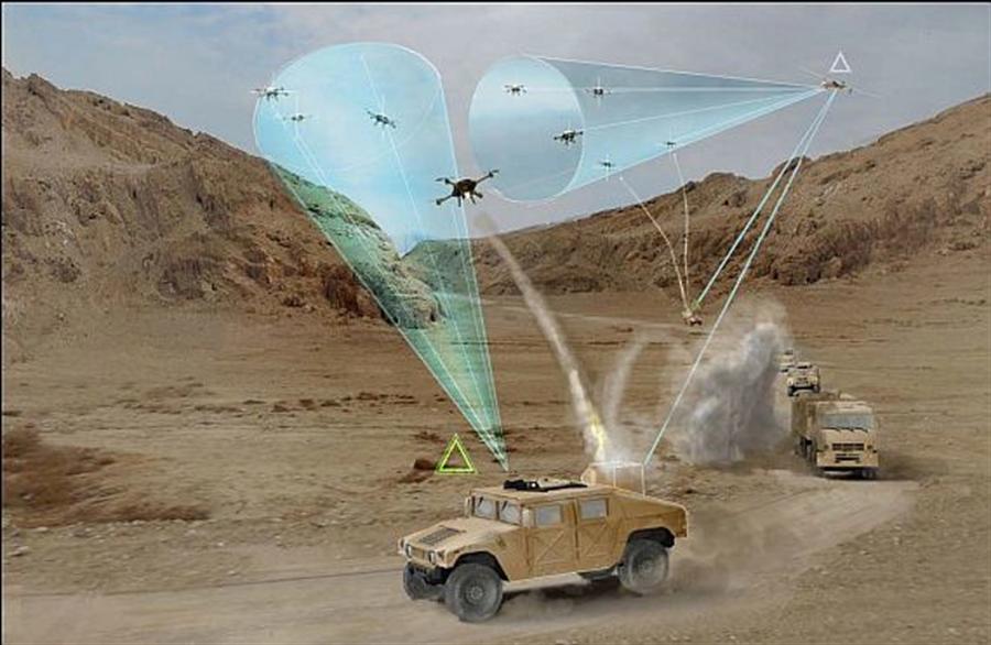 美軍最低層防空,由機動越野車的輕量型武器站和傳應器組成,擊落來犯的無人機。(圖/美國陸軍)