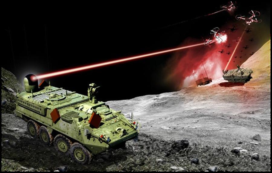 第2層防禦是安裝在史崔克甲車上的固體雷射武器。(圖/美國陸軍)