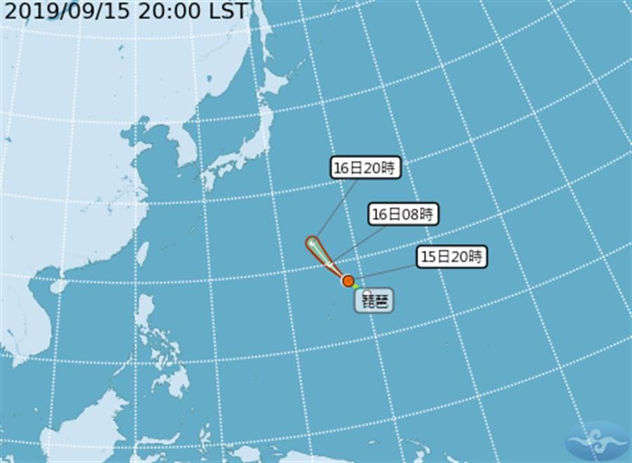 琵琶復活了,今晚8時正式成為第16號颱風!(圖擷自氣象局)