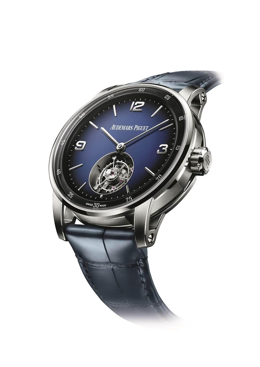 愛彼Code 11.59系列自動上鍊飛行陀飛輪腕表,約400萬元。(Audemars Piguet提供)