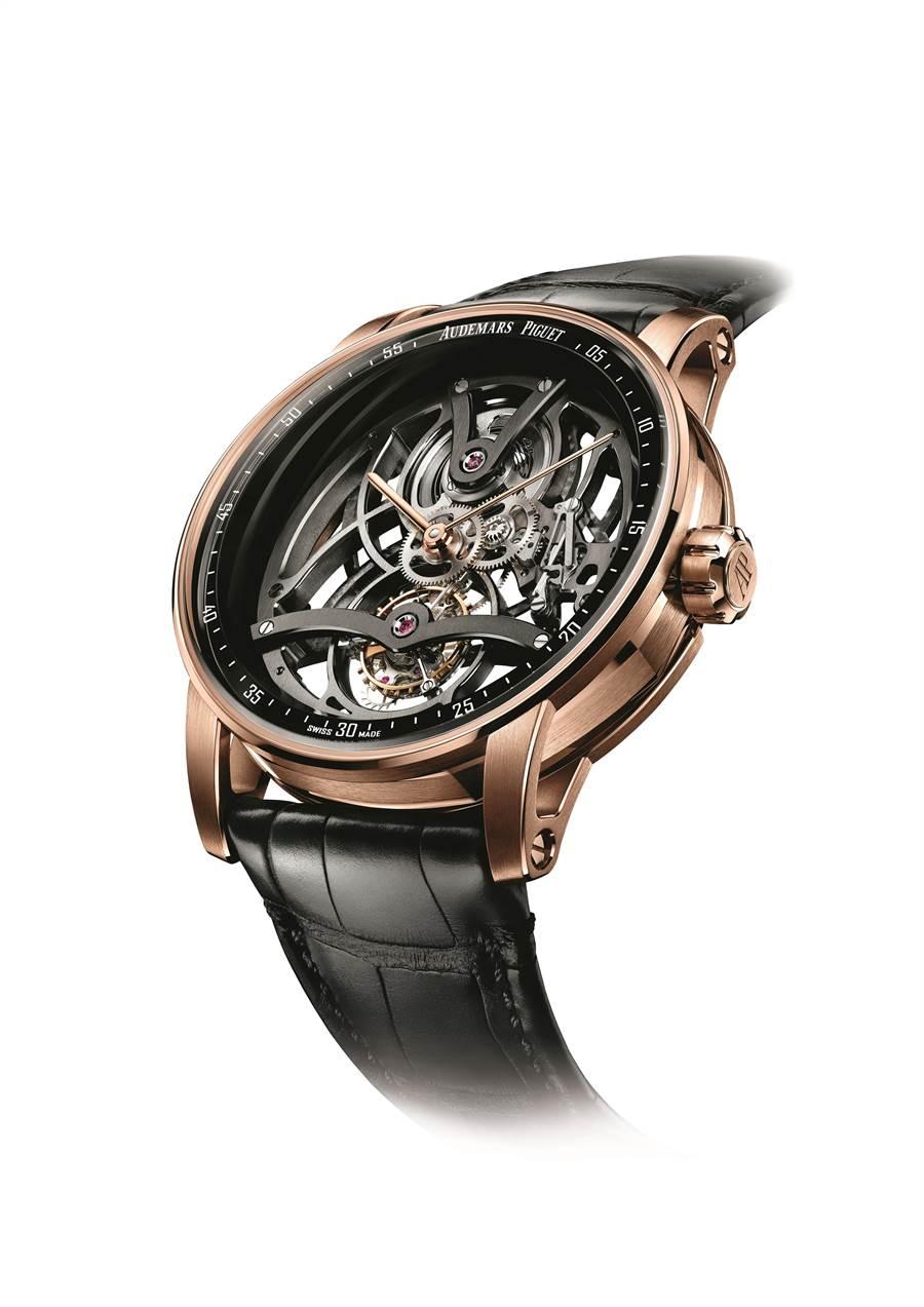 愛彼Code 11.59系列鏤空陀飛輪腕表,約540萬元。( Audemars Piguet提供)
