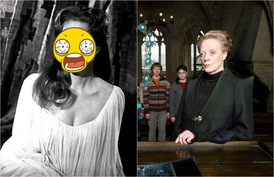 哈利波特「麥教授」年輕時竟是大眼正妹。(合成圖/達志影像授權提供)