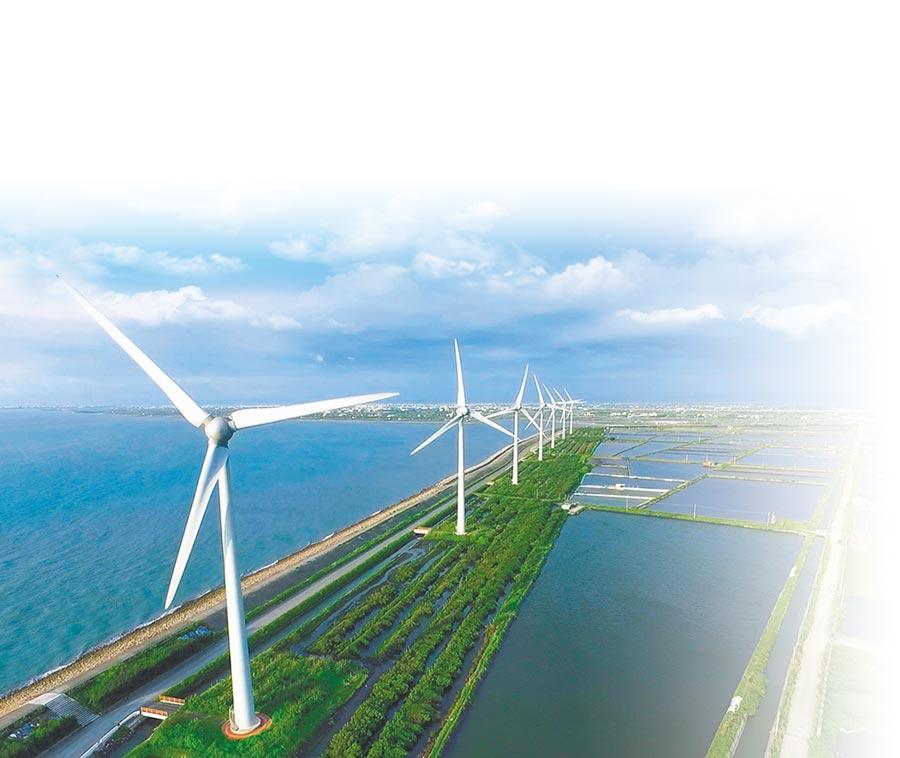 近年來,再生能源與環保畫上等號,但英國有研究警告說,綠能發電無意間助長目前已知威力最強的溫室氣體「六氟化硫」排放。圖為海上離岸風電模擬圖。(彰化縣政府提供)