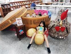 三重「布」一樣圖書館 巨型蒸籠「書香宴」、巨無霸布雞超好拍