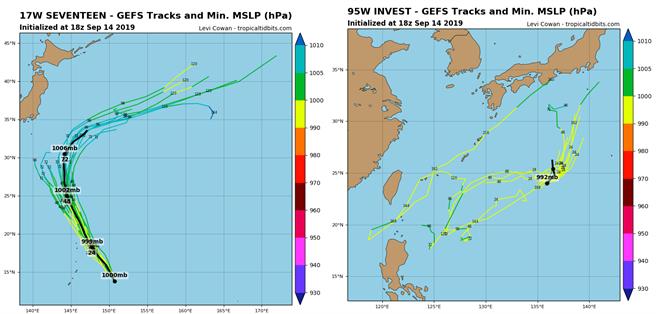左圖為琵琶颱風模擬路徑;右圖為低壓(95W)模擬路徑。(圖擷取自tropicaltidbits)
