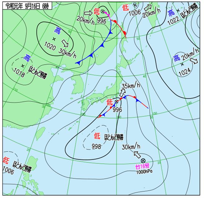 日本天氣圖顯示,琵琶颱風朝日本前進。(翻攝自 日本氣象廳)