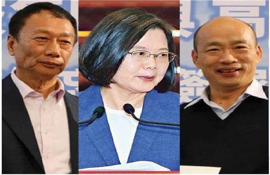 郭台銘(左)、蔡英文(中)、韓國瑜(右)。(圖/本報資料照,合成照)