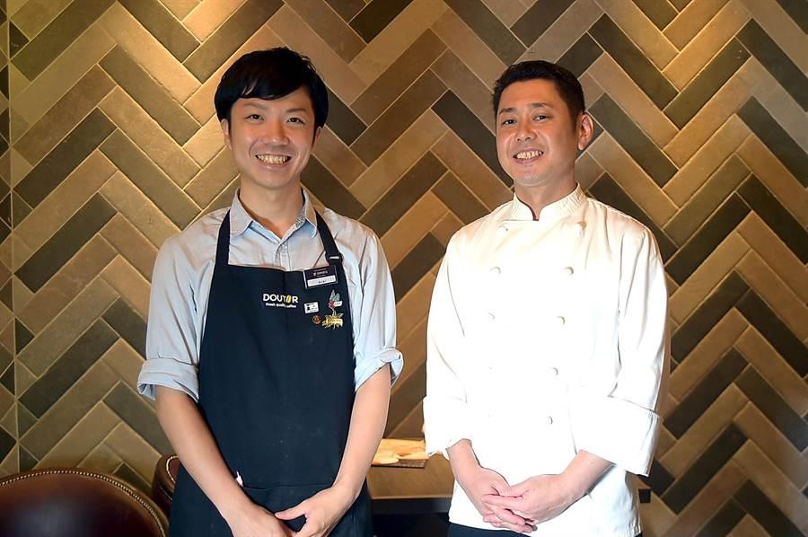 台灣〈星乃珈琲店〉的咖啡師新井智博(左),以及料理長國分博文(右)都來自日本。(圖/姚舜)