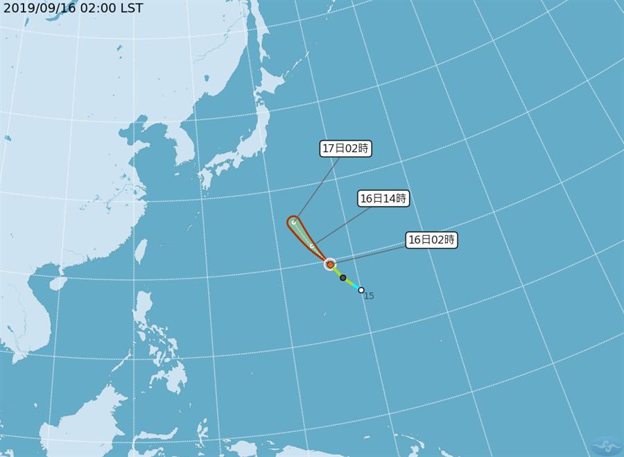 今年第16號颱風琵琶於昨天晚上生成,距離台灣約2700公里。(摘自中央氣象局)