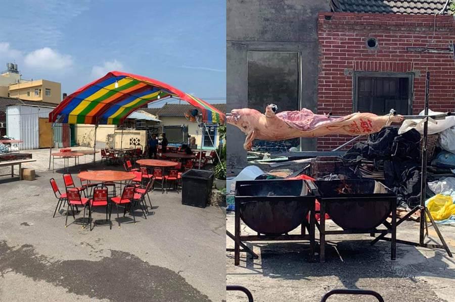 烤肉現場還搭建帳篷,旁邊還擺有烤全豬(圖翻攝自/爆廢公社)