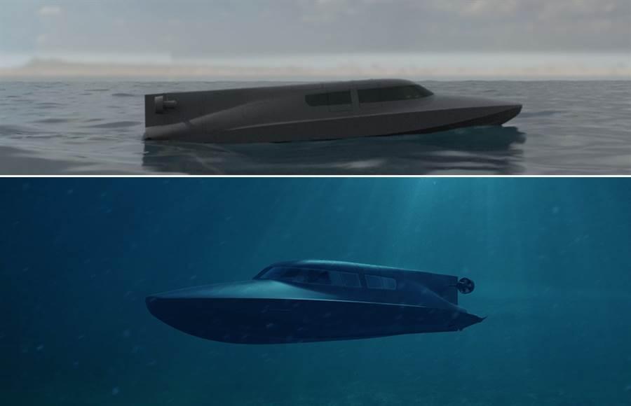 英國特戰潛快艇Victa,可在水面上航行和水下深潛。(圖/subseacraft)