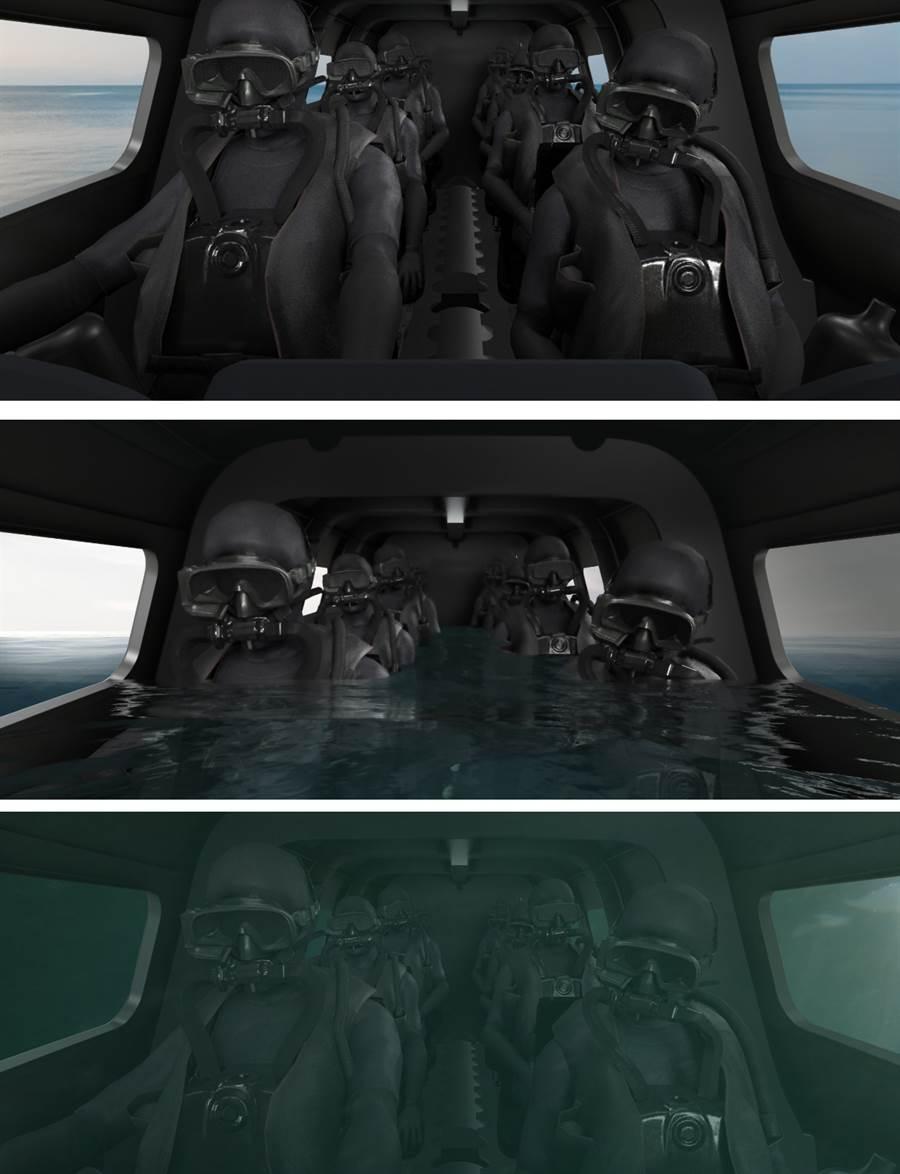 Victa不負擔艙壓防水,所以搭乘者必須穿水肺潛水衣。(圖/Subsea Craft)