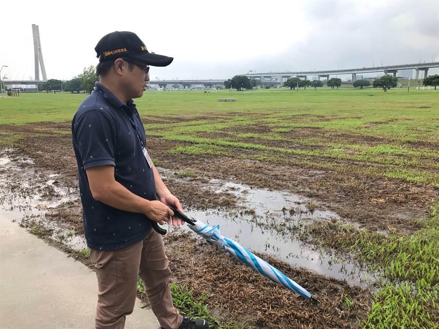 韓營三重造勢,新北市政代為執行植草皮。(戴上容攝)