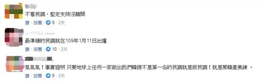 有網友看到該民調說:「氣氣氣!事實證明,只要地球上任何一家做出我們韓總不是第一名的民調就是假民調!就是黑韓產業鏈。」(翻攝中時電子報)