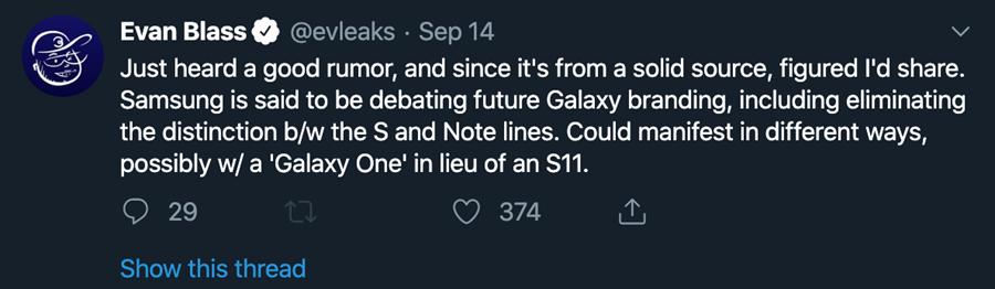 爆料達人Evan Blass指出三星正在討論Galaxy 品牌重新定位的問題(part 1)。(摘自Twitter)