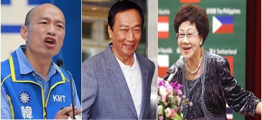 國民黨總統選舉提名人 韓國瑜(左)、鴻海創辦人 郭台銘(中)、前副總統呂秀蓮(右)。(圖/資料照片合成)