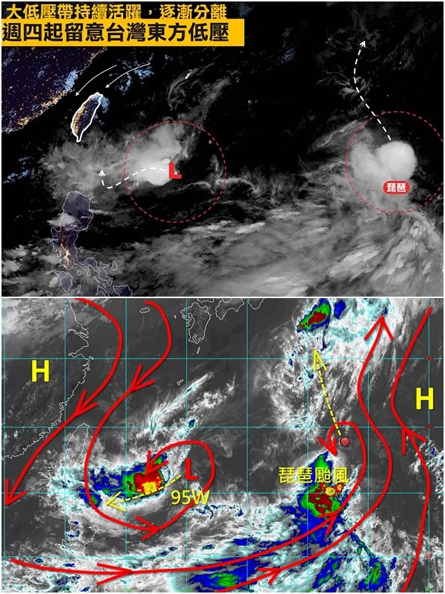 上圖:周四開始,要特別留意台灣東方的低壓發展,很有可能對週末的天氣造成影響。(圖/摘自台灣颱風論壇|天氣特急 FB)下圖:周四(19日)之後的天氣就要看95W發展以及移動的狀況而定。(圖/摘自天氣職人-吳聖宇 FB)
