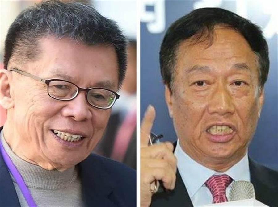 资深政治名嘴沈富雄(左)、鸿海创办人郭台铭(右)。(合成图/中时资料照)