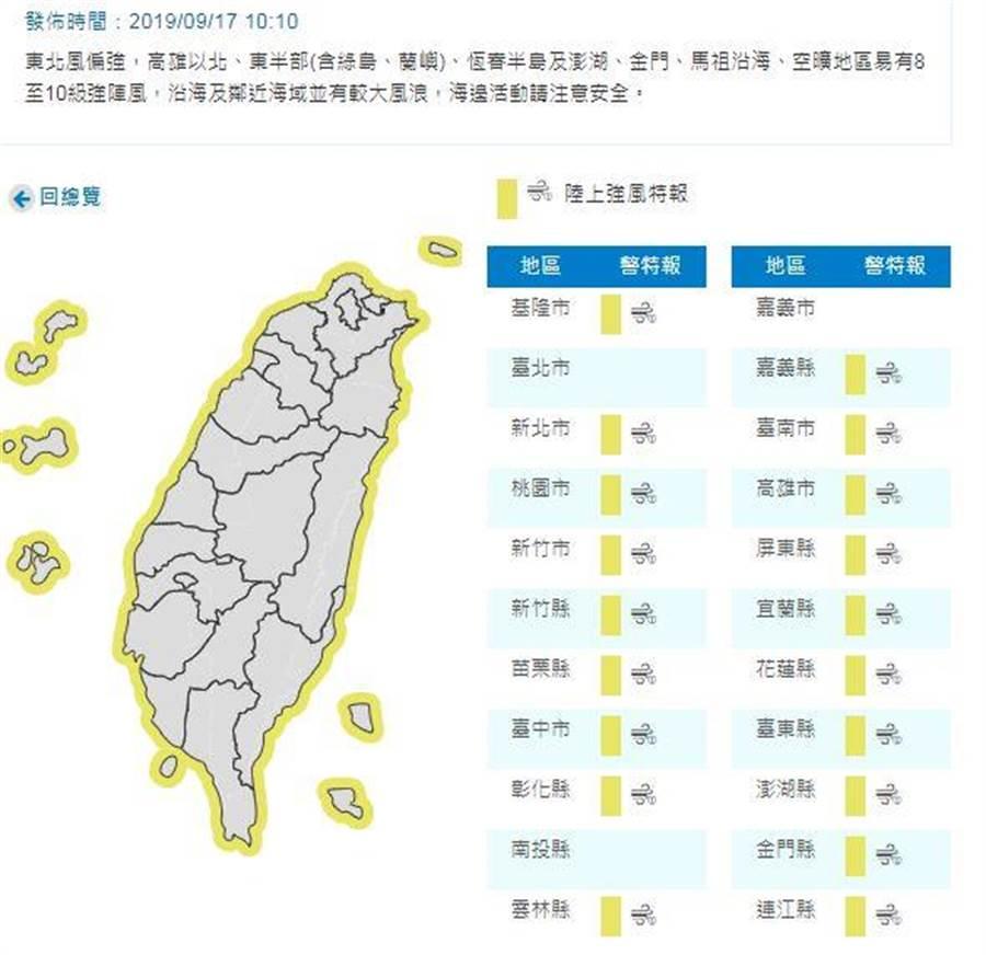 氣象局發布19縣市強風特報。(圖/中央氣象局)
