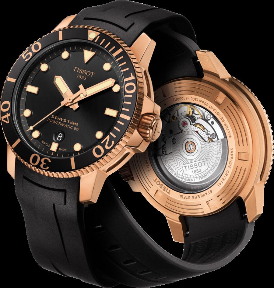 天梭表Seastar 1000海星系列自動款潛水腕錶,owermatic 80自動機芯、旋入式錶冠和底蓋、陶瓷錶圈、玫瑰金PVD錶殼、龍頭和錶耳、藍寶石水晶玻璃錶面、316L精鋼錶殼及透視底蓋、防水深度:300米 / 1000英尺(30 bar)。(圖/品牌提供)