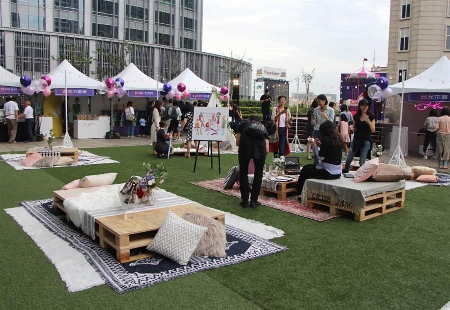 新光三越信義A4露臺曾辦過時尚市集派對,邀請超過15個攤位。(新光三越提供)